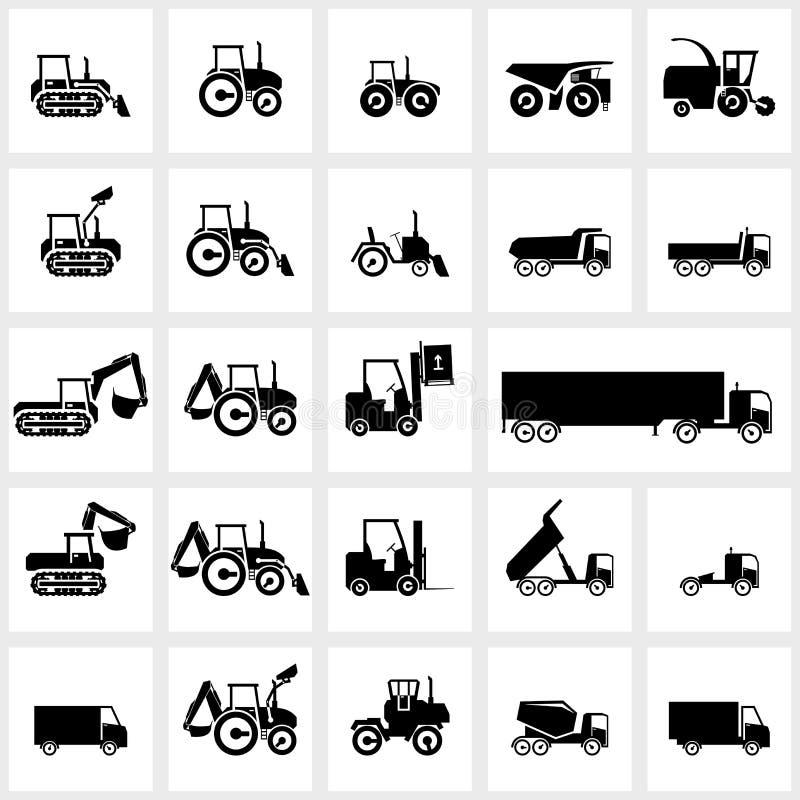 Διανυσματικά καθορισμένα αυτοκίνητα και τρακτέρ εικονιδίων διανυσματική απεικόνιση