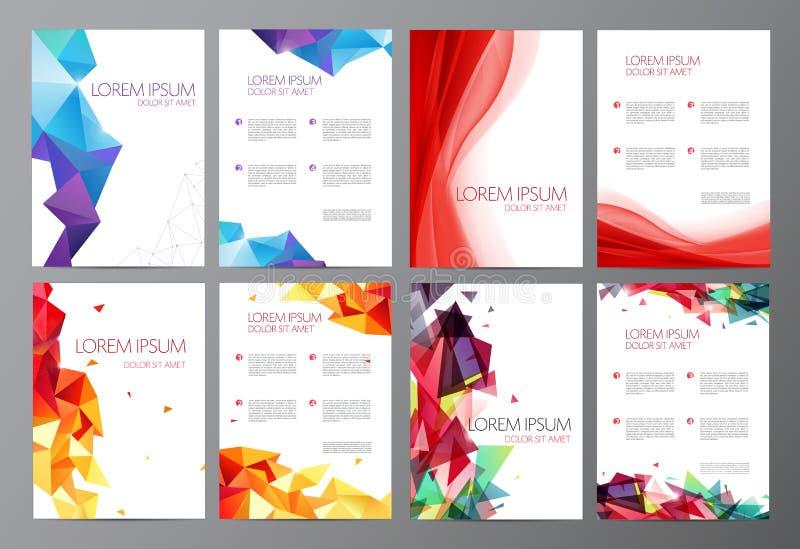 Διανυσματικά καθορισμένα αφηρημένα σύγχρονα πρότυπα σχεδίου φυλλάδιων ιπτάμενων διανυσματική απεικόνιση
