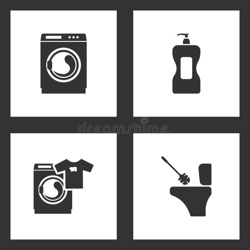 Διανυσματικά καθορισμένα καθαρίζοντας εικονίδια απεικόνισης Στοιχεία του οικιακού καθαρίζοντας μπουκαλιού, πλυντήριο και εικονίδι απεικόνιση αποθεμάτων