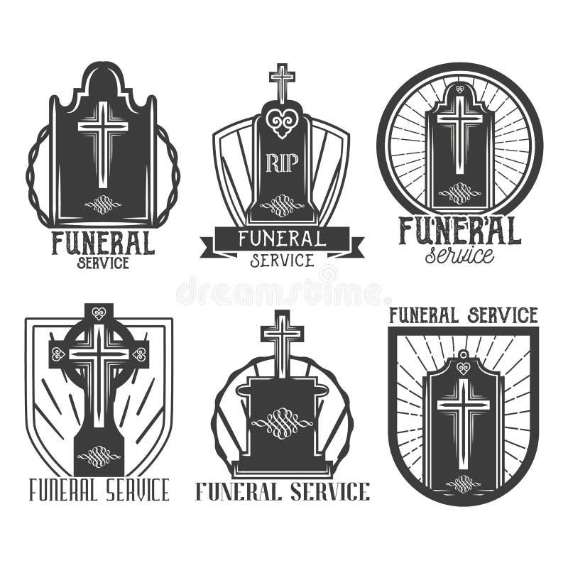Διανυσματικά καθορισμένα λογότυπα νεκρώσιμης ακολουθίας Διακριτικά, εμβλήματα, εικονίδια των ταφοπέτρων στο εκλεκτής ποιότητας ύφ ελεύθερη απεικόνιση δικαιώματος