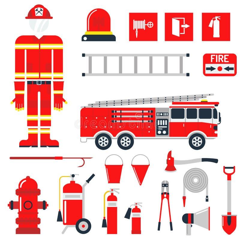 Διανυσματικά καθορισμένα πυροσβεστών εικονίδια και σύμβολα πυρασφάλειας επίπεδα διανυσματική απεικόνιση