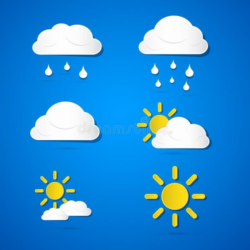 Διανυσματικά καιρικά εικονίδια. Σύννεφα, ήλιος, βροχή ελεύθερη απεικόνιση δικαιώματος