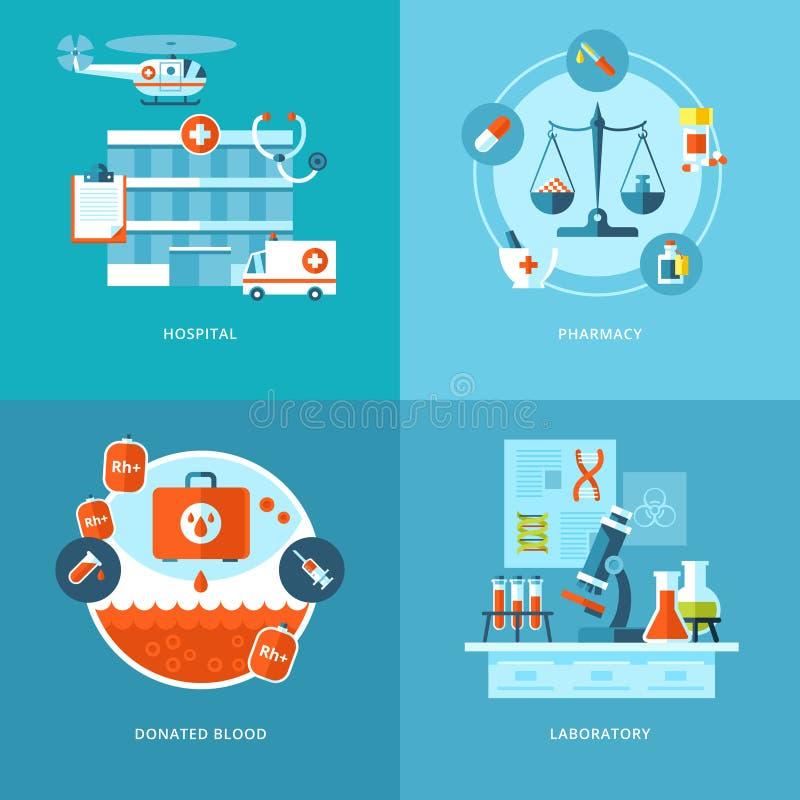 Διανυσματικά και εικονίδια υγείας που τίθενται ιατρικά για το σχέδιο Ιστού, κινητά apps ελεύθερη απεικόνιση δικαιώματος