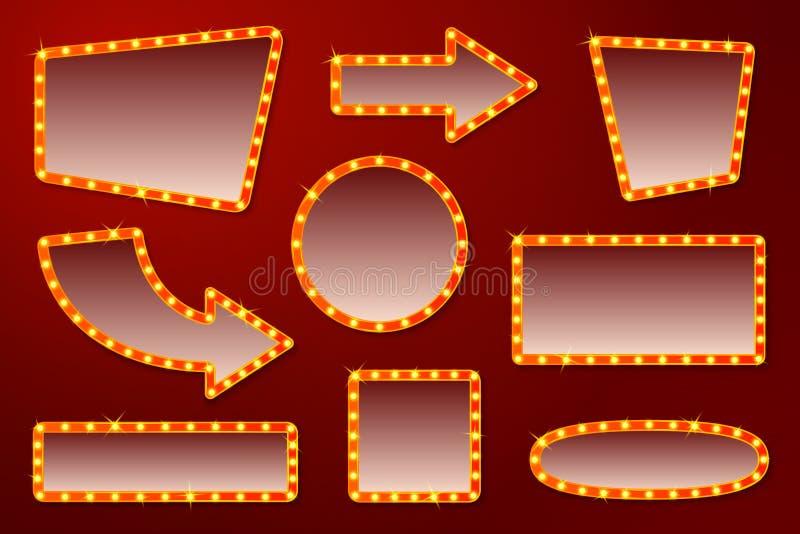 Διανυσματικά καμμένος σημάδια για το τσίρκο, τον κινηματογράφο κ.λπ. ελεύθερη απεικόνιση δικαιώματος