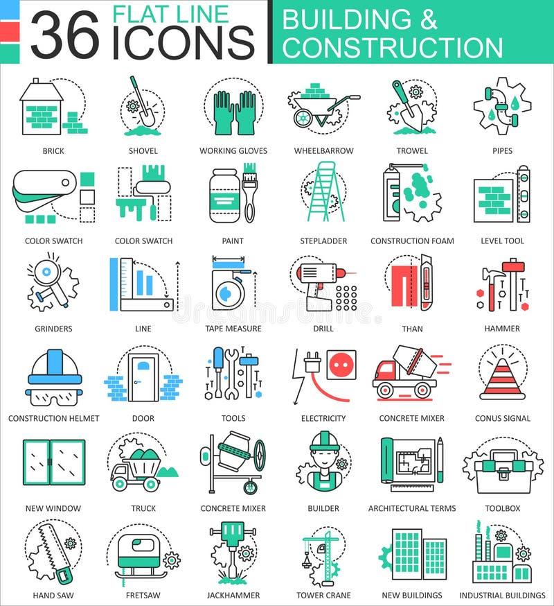 Διανυσματικά κατασκευής και οικοδόμησης εργαλείων σύγχρονα εικονίδια περιλήψεων γραμμών χρώματος επίπεδα για τα apps και το σχέδι διανυσματική απεικόνιση