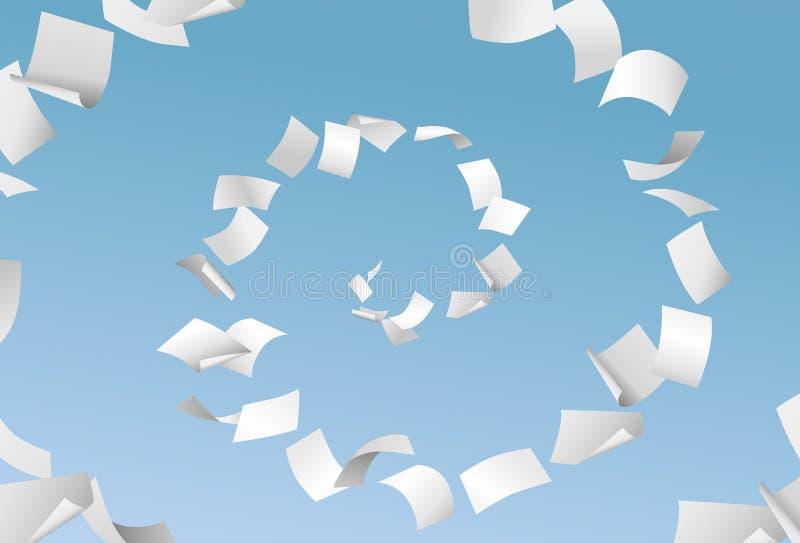 Διανυσματικά κενά έγγραφα που πετούν στη σπείρα στο υπόβαθρο μπλε ουρανού - PA ελεύθερη απεικόνιση δικαιώματος