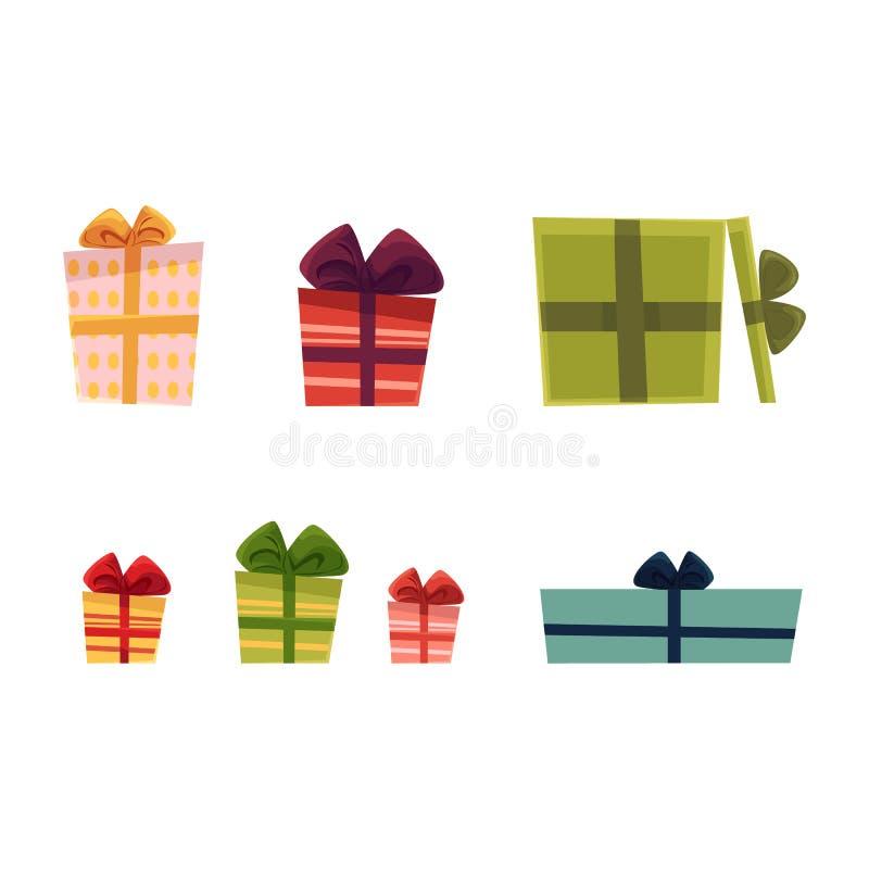 Διανυσματικά κιβώτια δώρων διακοπών παρόντα καθορισμένα διανυσματική απεικόνιση