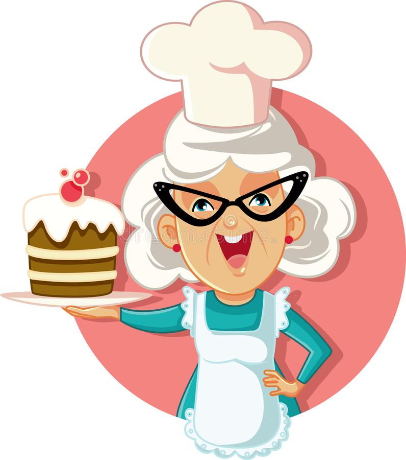 Διανυσματικά κινούμενα σχέδια κέικ εκμετάλλευσης γιαγιάδων διανυσματική απεικόνιση