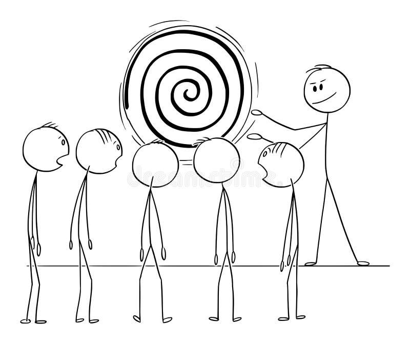 Διανυσματικά κινούμενα σχέδια ομάδα ανθρώπων ή των εργαζομένων Hypnotize ατόμων ή επιχειρησιακών ηγετών από τη σπείρα ύπνωσης ελεύθερη απεικόνιση δικαιώματος