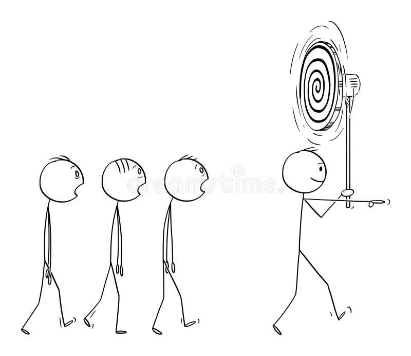 Διανυσματικά κινούμενα σχέδια της κύριας ομάδας ατόμων ή επιχειρησιακών ηγετών ή της ομάδας των ανθρώπων ή των εργαζομένων Hypnot ελεύθερη απεικόνιση δικαιώματος