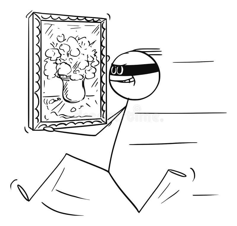 Διανυσματικά κινούμενα σχέδια του κλέφτη που τρέχουν με την κλεμμένη ζωγραφική από το γκαλερί τέχνης, το μουσείο ή το σπίτι διανυσματική απεικόνιση