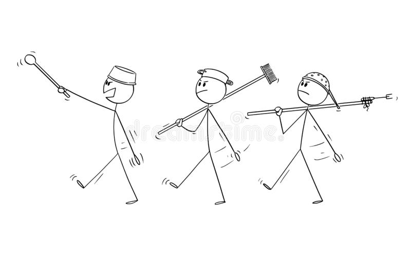 Διανυσματικά κινούμενα σχέδια τριών ενήλικων ατόμων που παίζουν στους στρατιώτες και την πορεία διανυσματική απεικόνιση
