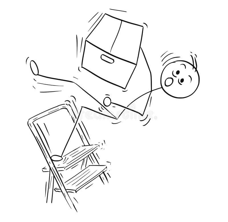 Διανυσματικά κινούμενα σχέδια ατόμων ραβδιών του ατόμου που πέφτουν από τη σκάλα Stepladder απεικόνιση αποθεμάτων