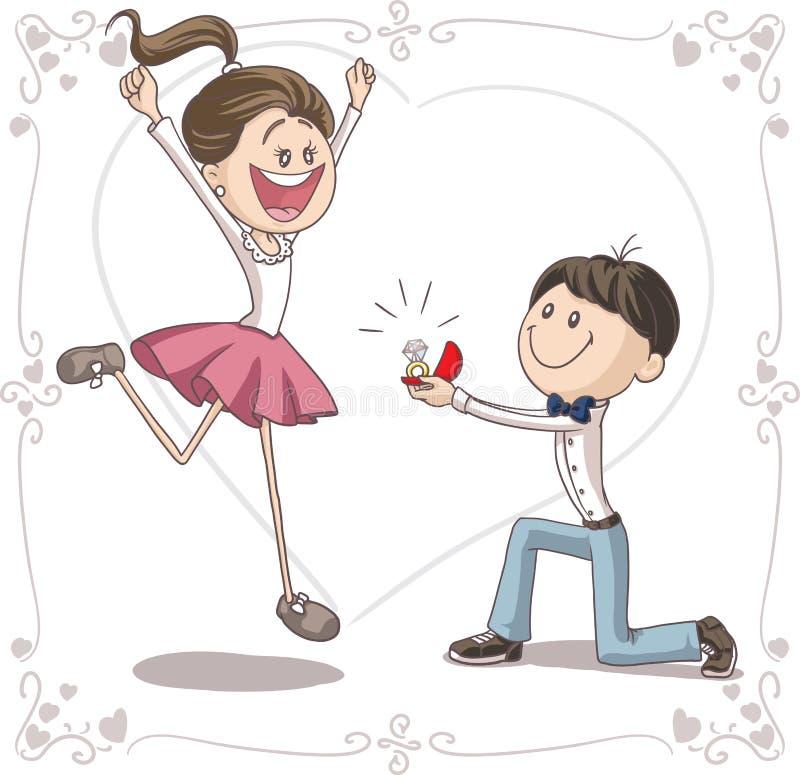 Διανυσματικά κινούμενα σχέδια προτάσεων γάμου διανυσματική απεικόνιση