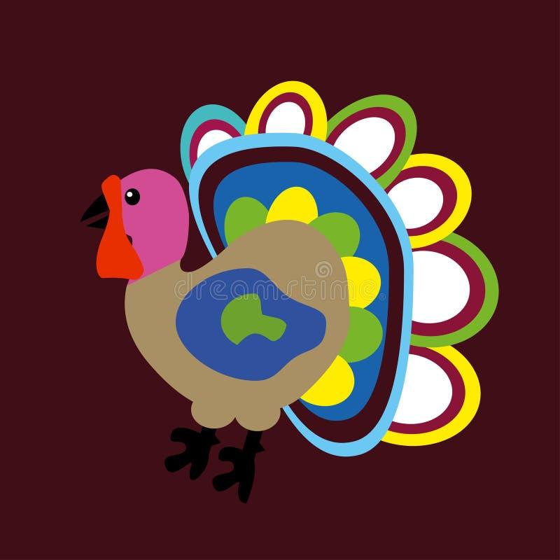Διανυσματικά κινούμενα σχέδια Τουρκία απεικόνισης Ευτυχής έννοια ημέρας των ευχαριστιών Επίπεδο σχέδιο ελεύθερη απεικόνιση δικαιώματος