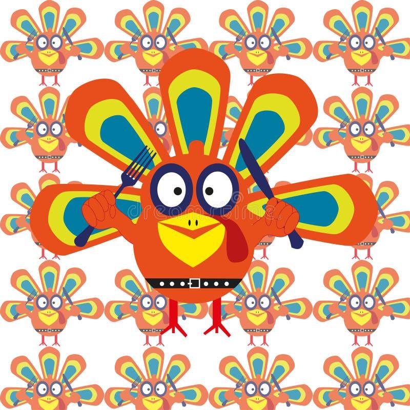 Διανυσματικά κινούμενα σχέδια Τουρκία απεικόνισης Ευτυχής έννοια ημέρας των ευχαριστιών ζωηρόχρωμος στρόβιλος προτύπων σχεδίου αν διανυσματική απεικόνιση