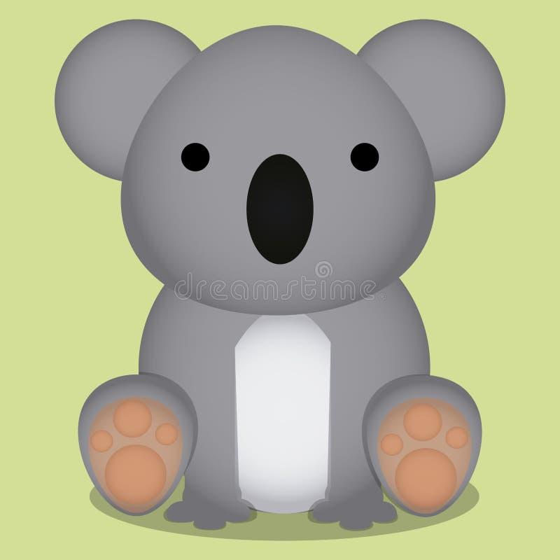 Διανυσματικά κινούμενα σχέδια χαριτωμένα συνεδρίαση Koala που απομονώνεται λίγη διανυσματική απεικόνιση