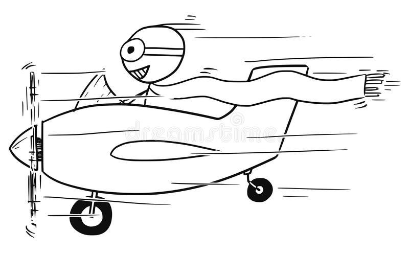 Διανυσματικά κινούμενα σχέδια Stickman του χαμογελώντας ατόμου που πετούν τα μικρά αεροσκάφη διανυσματική απεικόνιση