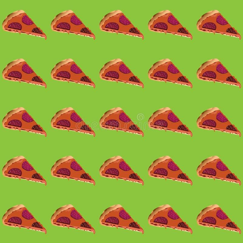 Διανυσματικά κομμάτια απεικόνισης της πίτσας με το λουκάνικο και του λειωμένου τυριού σε ένα ήπια πράσινο υπόβαθρο διανυσματική απεικόνιση