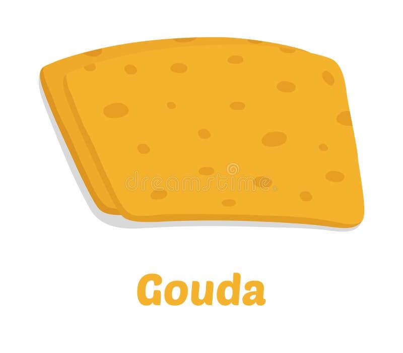 Διανυσματικά κομμάτια τυριών γκούντα Φέτα, χοντρό κομμάτι στο επίπεδο ύφος κινούμενων σχεδίων απεικόνιση αποθεμάτων