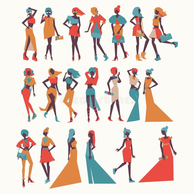 Διανυσματικά κορίτσια μόδας στη διαφορετική ενδυμασία - τα φορέματα βραδιού, περιστασιακό βλέμμα, διάφορο θέτουν και εξαρτήματα Φ ελεύθερη απεικόνιση δικαιώματος