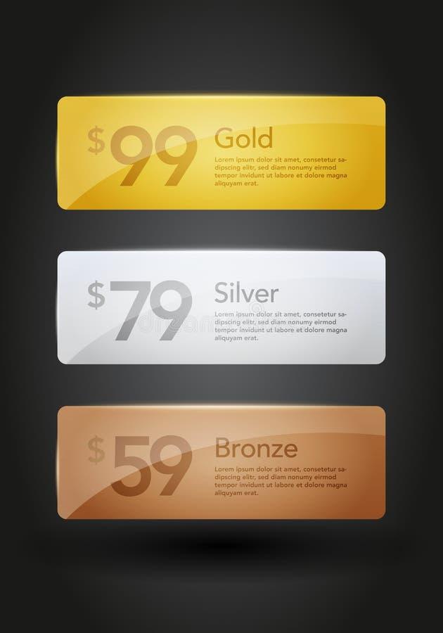 Διανυσματικά κουμπιά ιστοχώρου ασημιών και χαλκού απεικόνισης χρυσά, πρότυπα για την προσφορά ελεύθερη απεικόνιση δικαιώματος