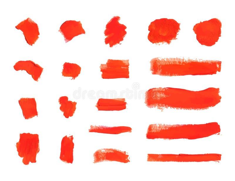 Διανυσματικά κτυπήματα βουρτσών, κατασκευασμένες κόκκινες κηλίδες χρωμάτων, στοιχεία σχεδίου καθορισμένα απεικόνιση αποθεμάτων