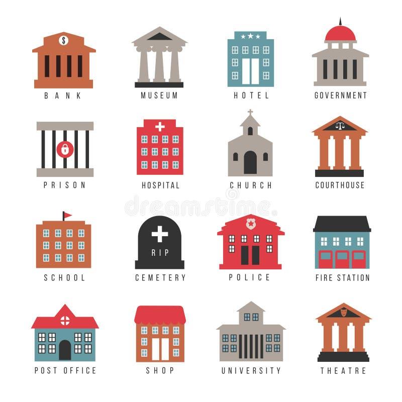 Διανυσματικά κυβερνητικά χρωματισμένα κτήριο εικονίδια Δημοτικά σύμβολα αρχιτεκτονικής πόλεων που απομονώνονται στο άσπρο υπόβαθρ ελεύθερη απεικόνιση δικαιώματος