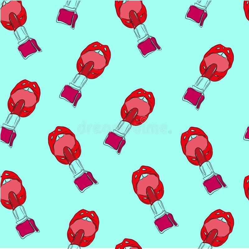 Διανυσματικά κόκκινα στιλπνά χείλια σκίτσων μόδας απεικόνισης με το κόκκινο κραγιόν στο άνευ ραφής σχέδιο υποβάθρου μεντών στοκ φωτογραφία