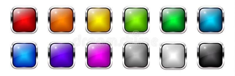 Διανυσματικά λαμπρά ζωηρόχρωμα τετραγωνικά κουμπιά Ιστού καθορισμένα διανυσματική απεικόνιση