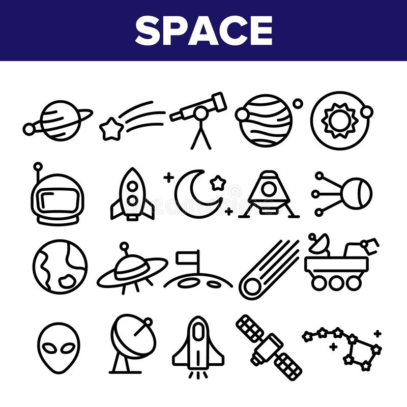 Διανυσματικά λεπτά εικονίδια γραμμών εξερεύνησης του διαστήματος καθορισμένα ελεύθερη απεικόνιση δικαιώματος