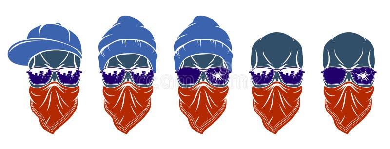 Διανυσματικά λογότυπα κρανίων γκάγκστερ καθορισμένα, αστικό μοντέρνο επιθετικό εγκληματικό scull απεικόνιση αποθεμάτων