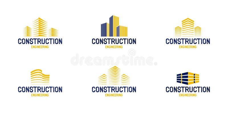 Διανυσματικά λογότυπα στοιχείων σχεδίου οικοδόμησης κτηρίων ή εικονίδια, realty θέμα ακίνητων περιουσιών ελεύθερη απεικόνιση δικαιώματος