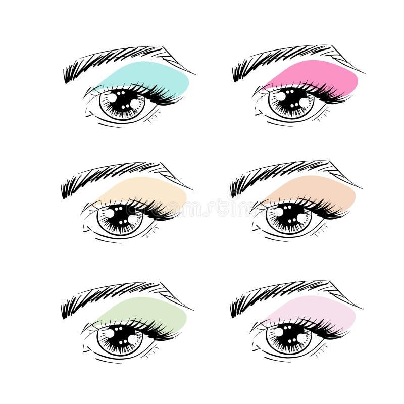 Διανυσματικά μάτια περιλήψεων με τα brows, τα μαστίγια ματιών και τις σκιές ματιών απεικόνιση αποθεμάτων