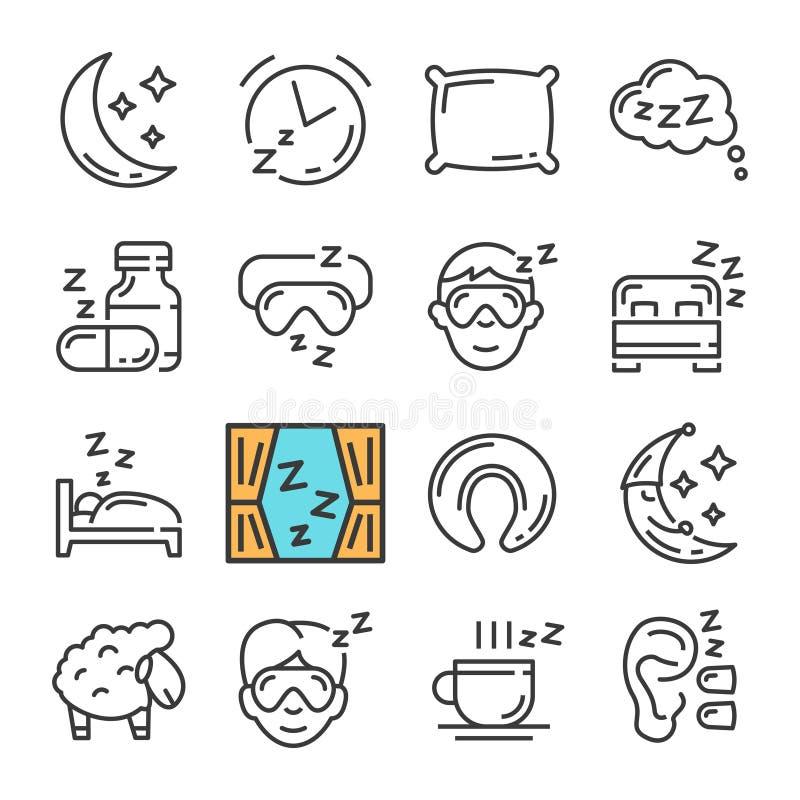 Διανυσματικά μαύρα εικονίδια ύπνου γραμμών καθορισμένα Περιλαμβάνει τέτοια εικονίδια όπως το φεγγάρι, μαξιλάρι, πρόβατα διανυσματική απεικόνιση