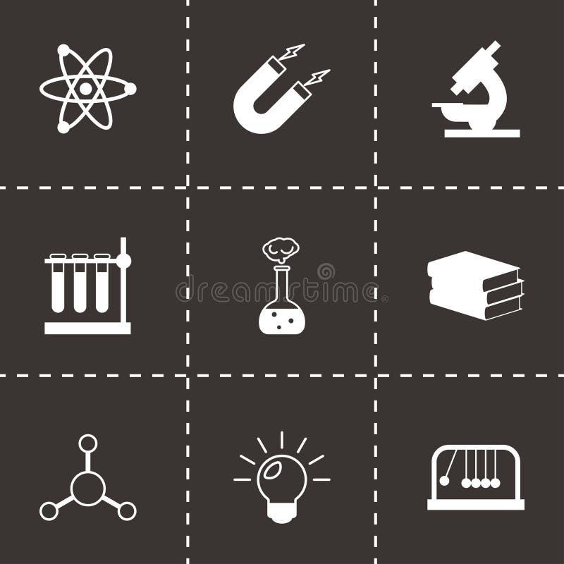 Διανυσματικά μαύρα εικονίδια επιστήμης καθορισμένα απεικόνιση αποθεμάτων