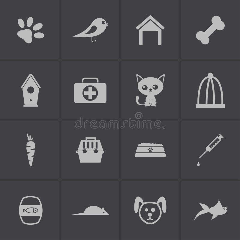 Διανυσματικά μαύρα εικονίδια κατοικίδιων ζώων καθορισμένα απεικόνιση αποθεμάτων