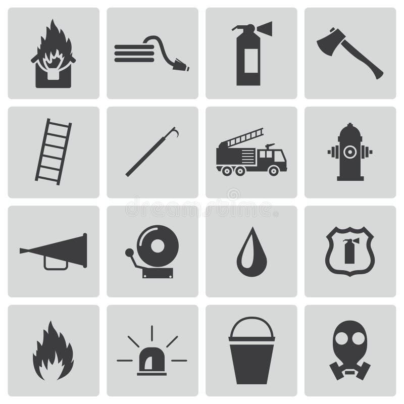 Διανυσματικά μαύρα εικονίδια πυροσβεστών καθορισμένα ελεύθερη απεικόνιση δικαιώματος