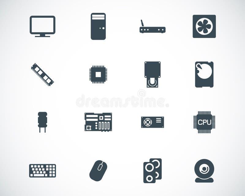 Διανυσματικά μαύρα εικονίδια τμημάτων PC διανυσματική απεικόνιση