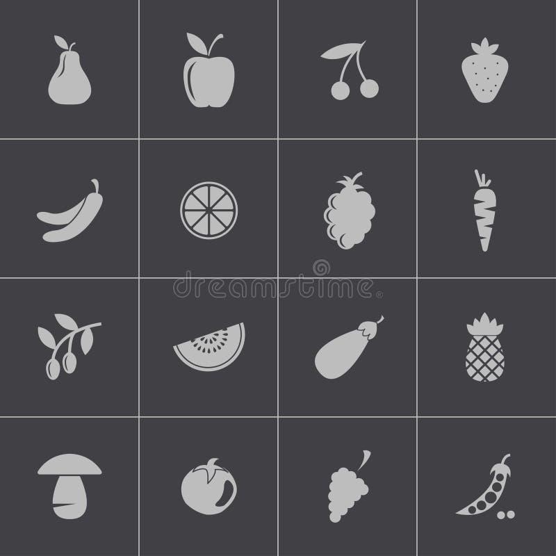 Διανυσματικά μαύρα εικονίδια φρούτων και λαχανικών καθορισμένα διανυσματική απεικόνιση