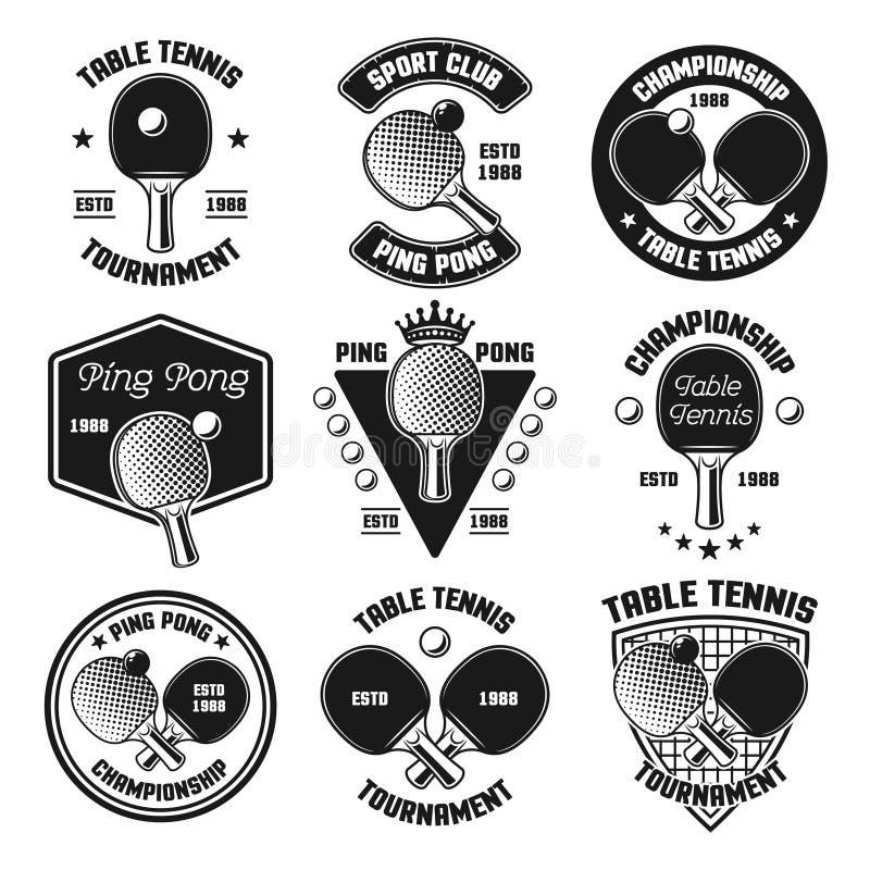 Διανυσματικά μαύρα εμβλήματα αντισφαίρισης ή επιτραπέζιας αντισφαίρισης ελεύθερη απεικόνιση δικαιώματος