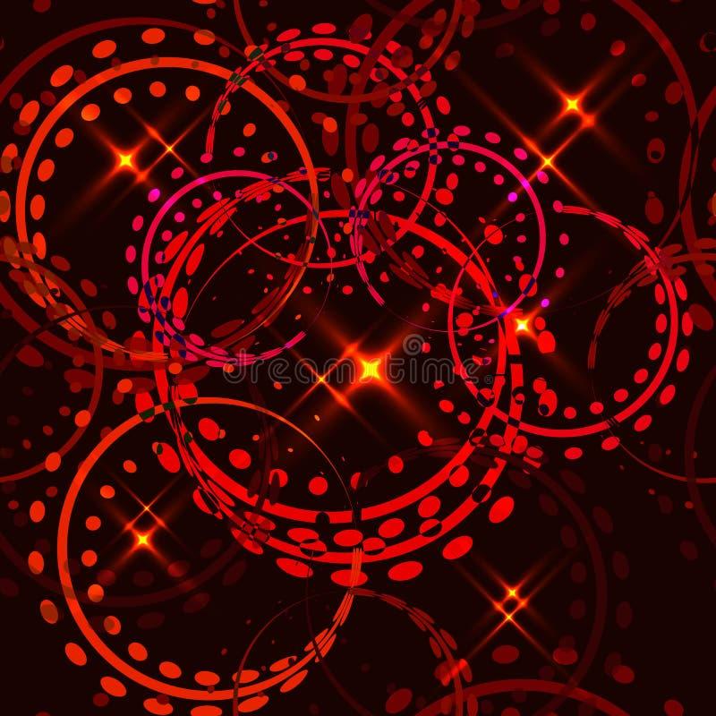 Διανυσματικά μεταλλικά αστέρια και δαχτυλίδια στα κόκκινα χρώματα σε ένα χρυσό υπόβαθρο Άνευ ραφής σχέδιο για τη διακόσμηση της β διανυσματική απεικόνιση