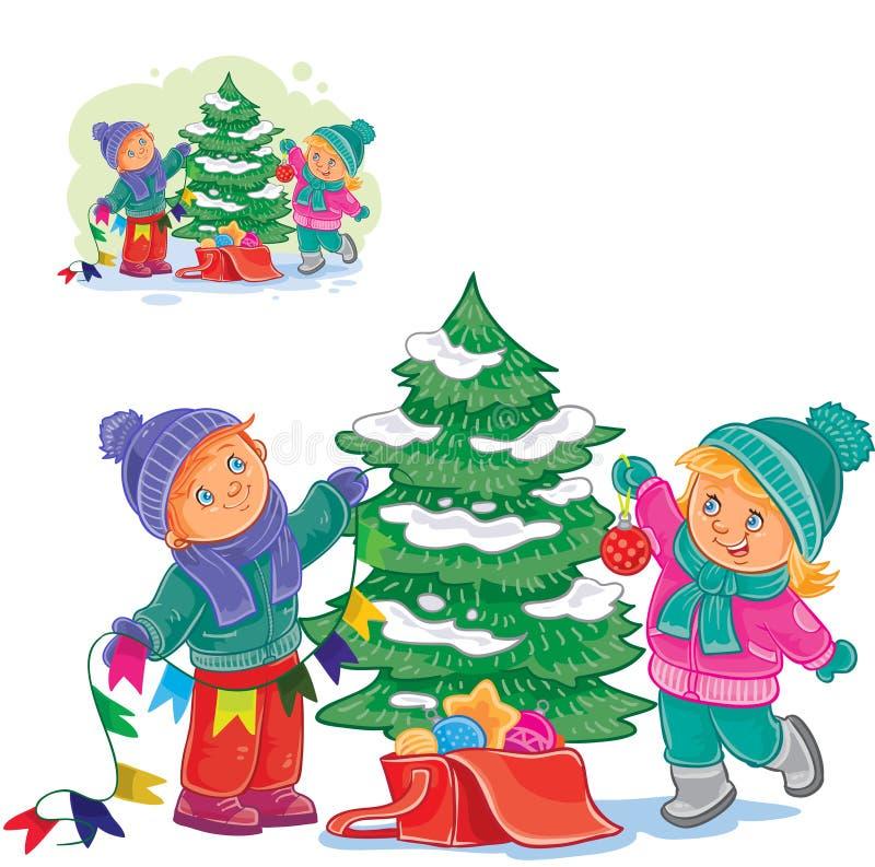Διανυσματικά μικρό παιδί και κορίτσι που διακοσμούν ένα χριστουγεννιάτικο δέντρο με τις σφαίρες και τις γιρλάντες διανυσματική απεικόνιση