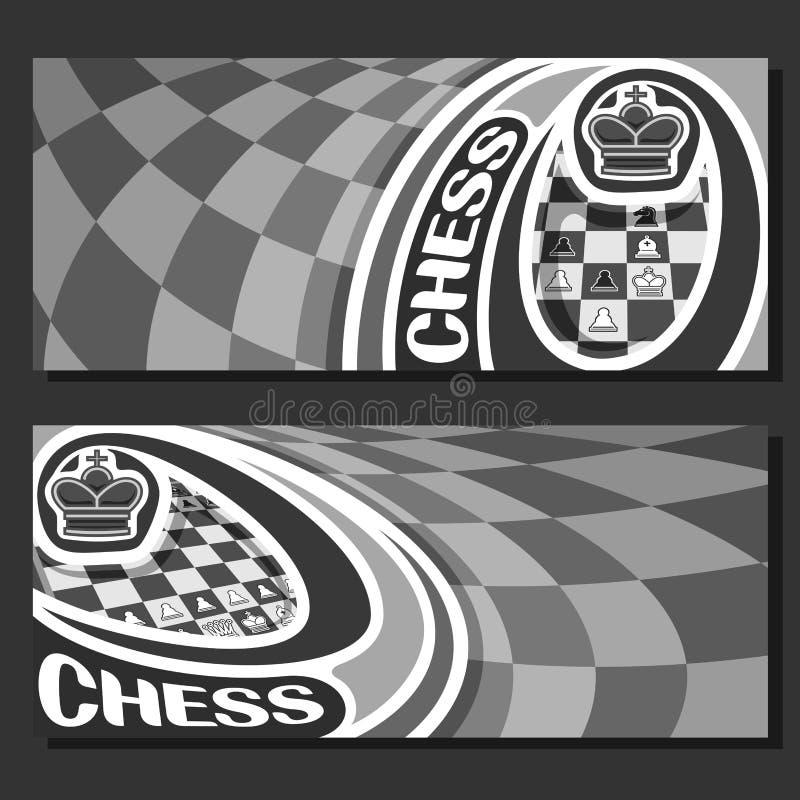 Διανυσματικά μονοχρωματικά εμβλήματα για το σκάκι ελεύθερη απεικόνιση δικαιώματος