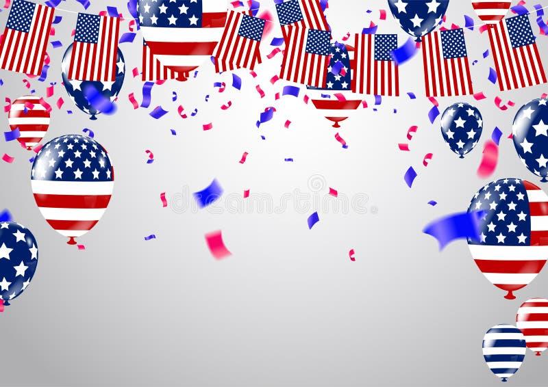 Διανυσματικά μπαλόνια απεικόνισης σχεδίου ημέρας της ανεξαρτησίας ΑΜΕΡΙΚΑΝΙΚΟΥ στις 4 Ιουλίου ελεύθερη απεικόνιση δικαιώματος