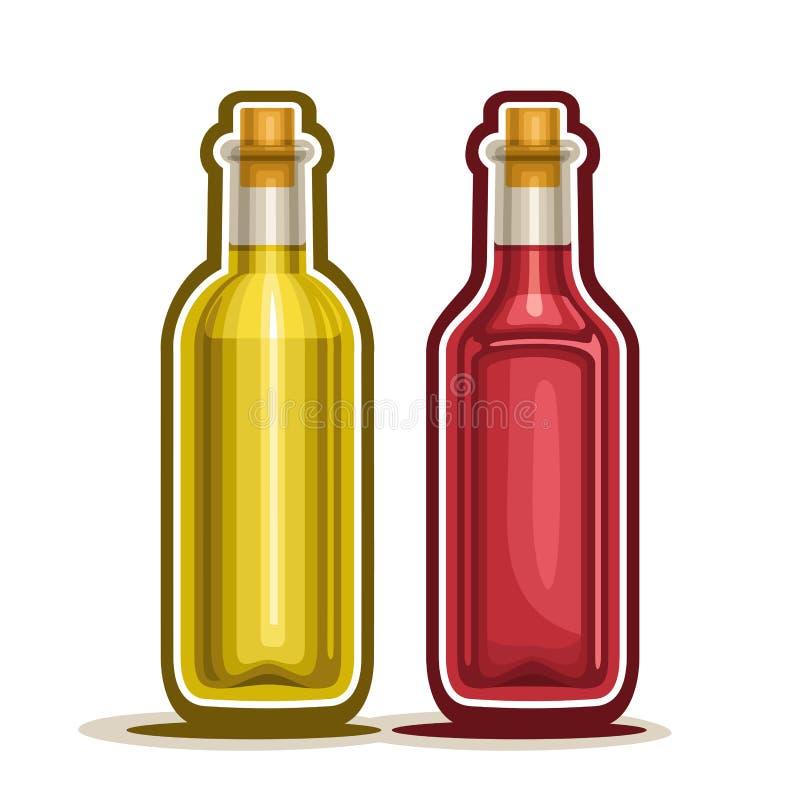 Διανυσματικά μπουκάλια κρασιού λογότυπων κόκκινα και κίτρινα διανυσματική απεικόνιση