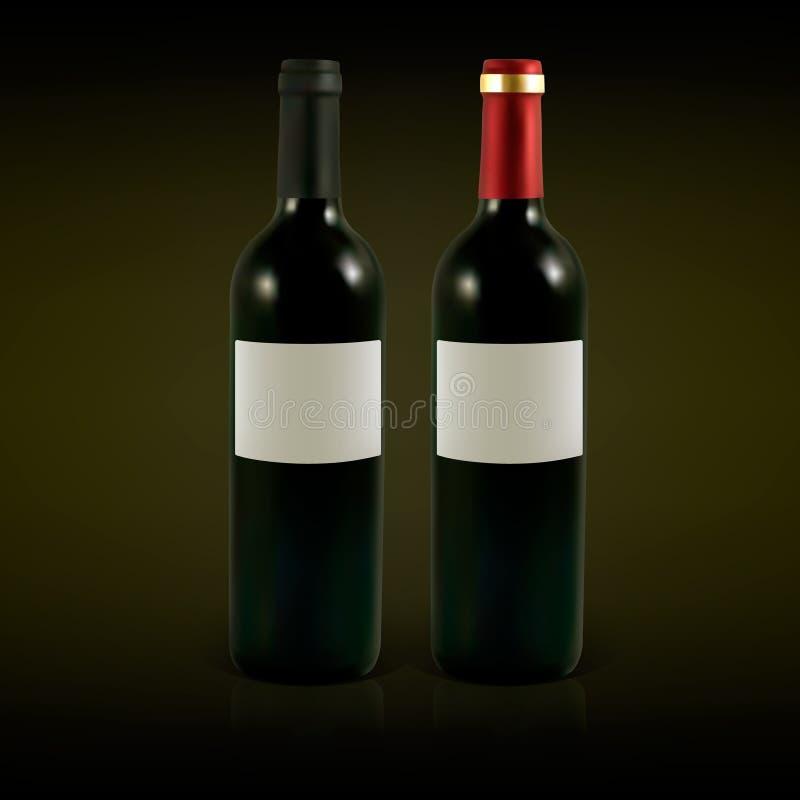 Διανυσματικά μπουκάλια κρασιού διανυσματική απεικόνιση