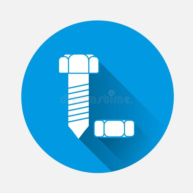 Διανυσματικά μπουλόνι και καρύδι εικόνας Στην μπλε ανασκόπηση Επίπεδη βίδα εικόνας ελεύθερη απεικόνιση δικαιώματος