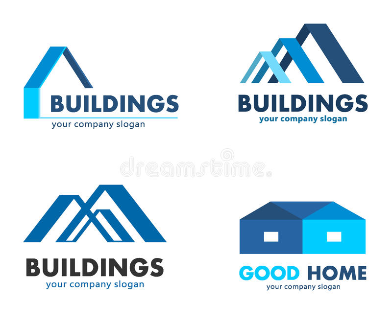 Διανυσματικά λογότυπα για τις επιχειρήσεις κατασκευής και οικοδόμησης ελεύθερη απεικόνιση δικαιώματος