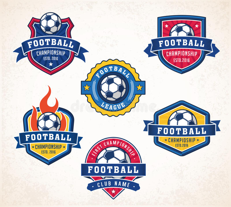 Διανυσματικά λογότυπα ποδοσφαίρου ή ποδοσφαίρου διανυσματική απεικόνιση